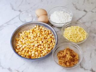 黃金芝士玉米烙,準備好材料
