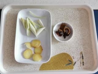 胡萝卜玉米排骨汤,葱切段 姜切片  八角桂皮备好