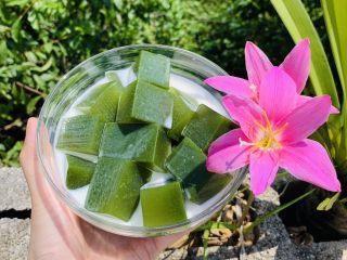 黄瓜牛奶甜凉粉,加入牛奶再放入冰箱冷藏至冰冻就可以吃啦。