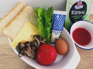 鸡蛋芝士全麦三明治,主要食材。