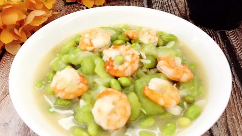 毛豆丝瓜炒虾仁,虾熟即可出锅