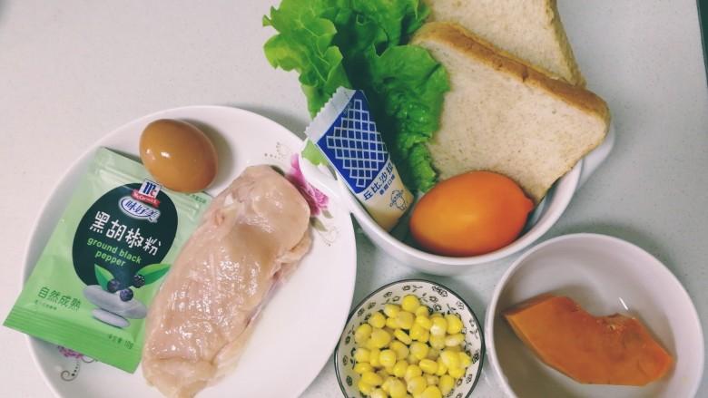 甜玉米鸡胸肉全麦三明治,主要食材<a style='color:red;display:inline-block;' href='/shicai/ 101'>鸡胸肉</a>冷水泡5分钟,清水冲洗干净。