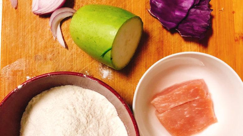 角瓜蔬菜瘦肉卷,所需食材如图