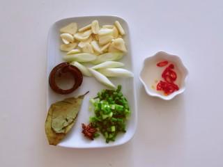 水煮龍利魚,蒜切片 香蔥切小圈 大蔥切段