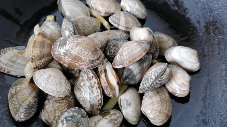 丝瓜花蛤汤,将花蛤放入锅内翻炒