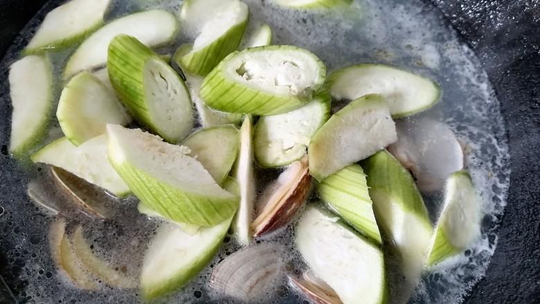 丝瓜花蛤汤,水烧开放入丝瓜