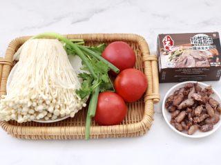 金针菇海兔汤,首先备齐所有的食材。