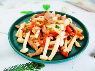 白玉菇炒肉,白玉菇炒肉成品图