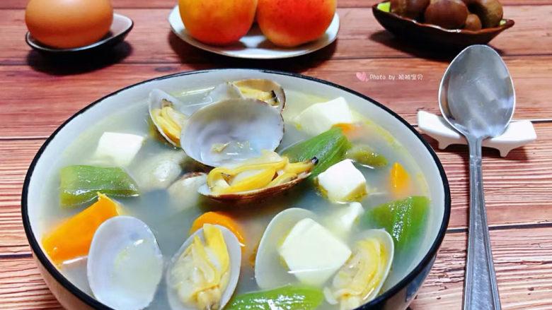 丝瓜花蛤汤,看着就感觉好有食欲