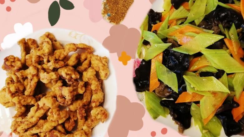 莴笋炒木耳,莴笋炒木耳和椒盐里脊,荤素搭配,营养均衡。
