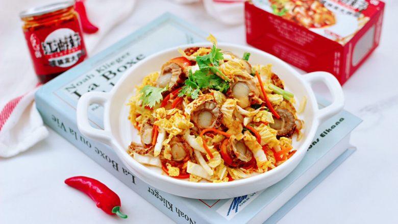 白菜心红油扇贝肉,清爽可口又下饭,而且营养丰富。