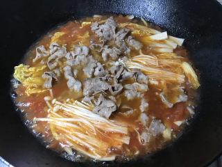 金针菇肥牛卷,下焯过的肥牛卷