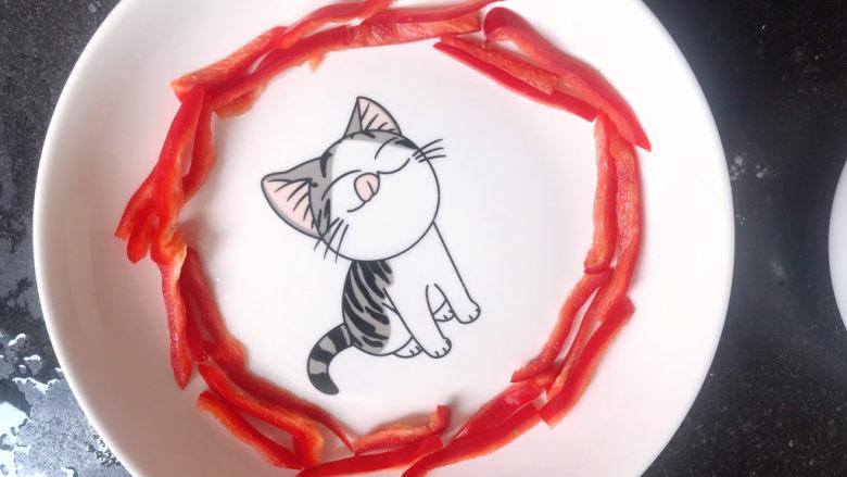 凉拌西兰花(减脂),红椒丝摆入盘中