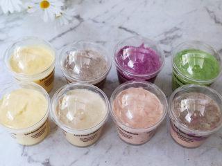一个配方6种口味的冰淇淋,放入冰箱冷冻一夜即可