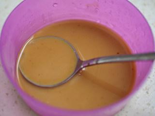 娃娃菜炖豆腐,水+生粉融解后+生抽+盐+蚝油拌均匀成酱汁;