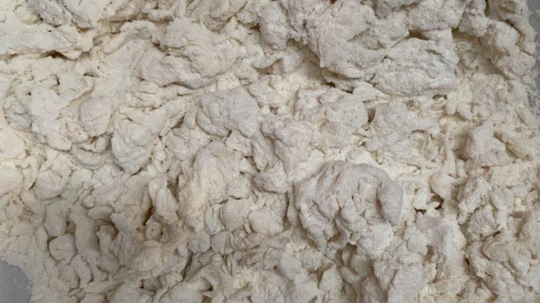 韭菜粉丝蒸饺,搅拌成棉絮状。