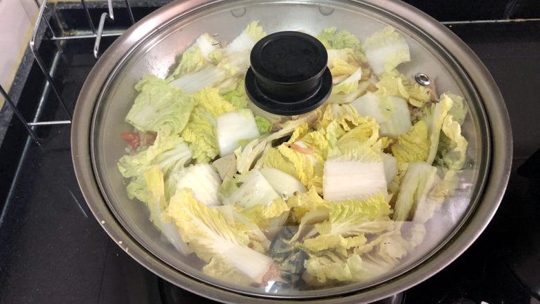 娃娃菜炖豆腐➕拂堤杨柳醉春烟,加盖中火炖煮五分钟,炖到娃娃菜软烂吸满汤汁