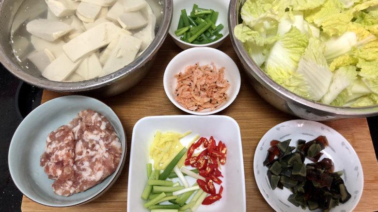 娃娃菜炖豆腐➕拂堤杨柳醉春烟,全部食材准备好