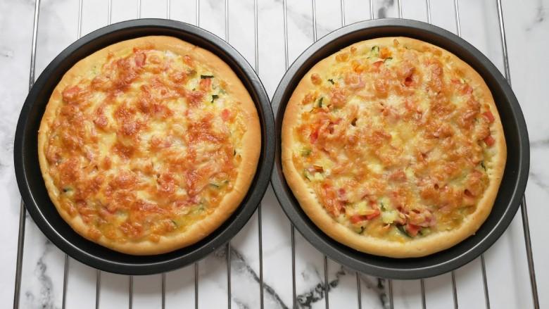 培根火腿披萨,香喷喷的披萨出炉啦!