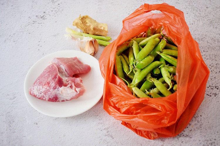 肉末炒豌豆,准备好材料