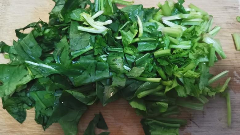 菠菜猪肝粥,菠菜切碎