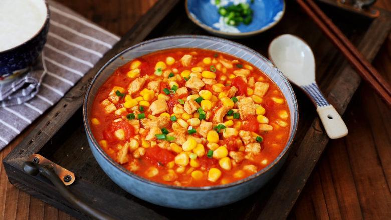 茄汁玉米鸡丁,成品图