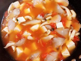 平菇豆腐汤,加入800ml水,炖煮。