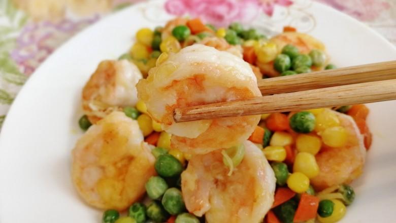 豌豆炒虾仁,健康低脂,颜色诱人。