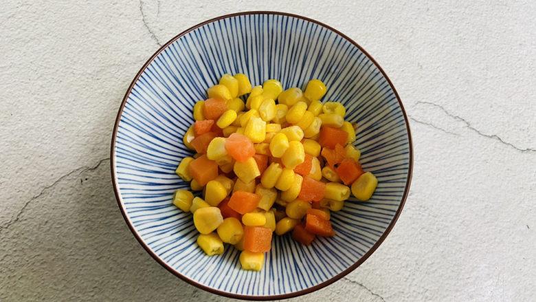 豌豆炒虾仁,玉米粒、胡萝卜粒