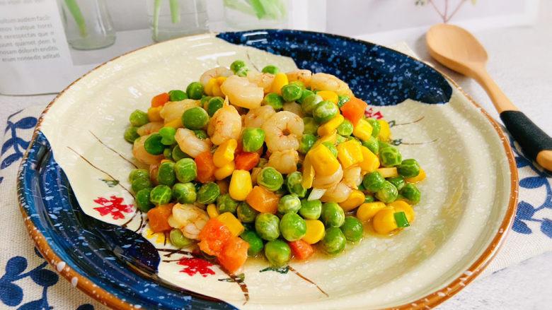 豌豆炒虾仁,豌豆炒虾仁低脂美味,营养丰富。