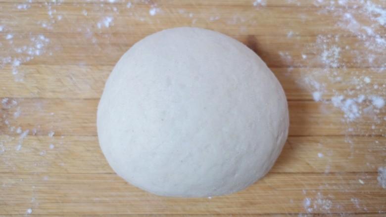 荞麦馒头,发酵好的面团揉光排气。