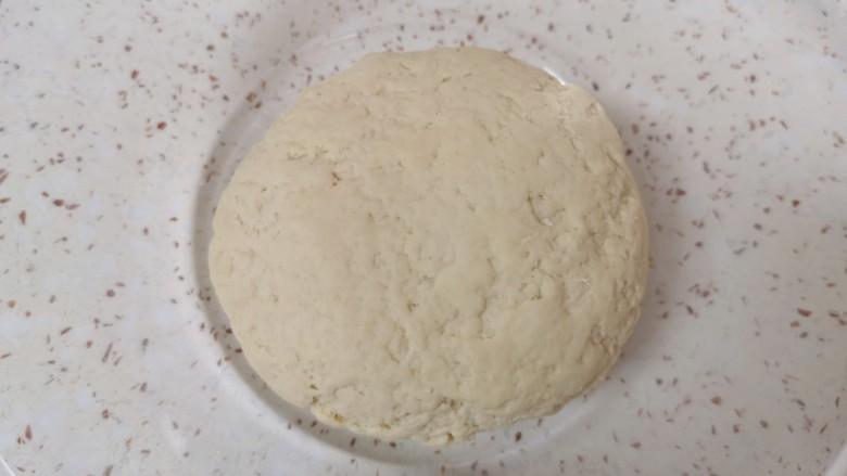 荞麦馒头,揉成面团,盖上保鲜膜发酵至两倍大。