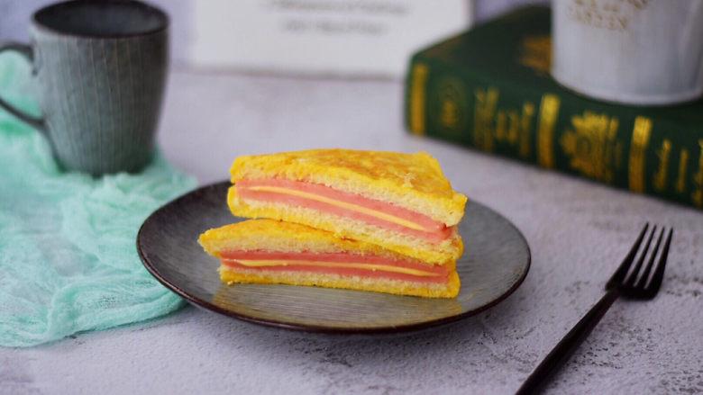 芝士火腿三明治,成品图