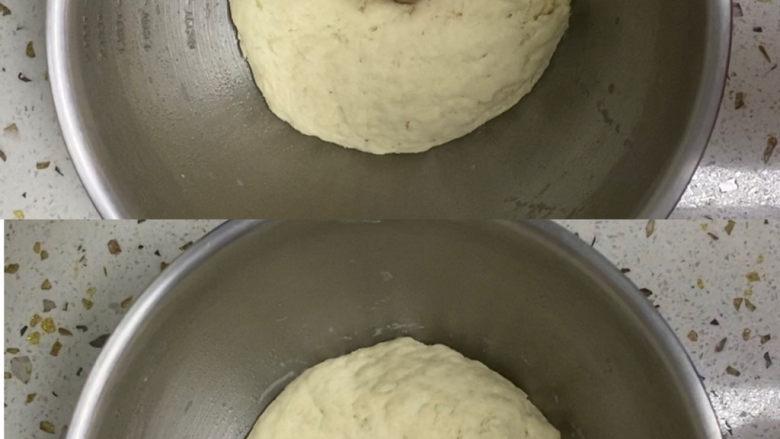 紫薯玫瑰花馒头,发酵好的面团用手指戳一下不回弹即可