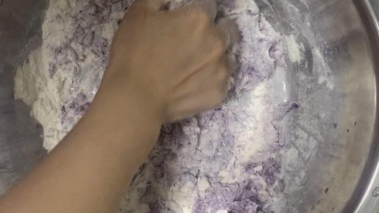紫薯玫瑰花馒头,揉成絮状,