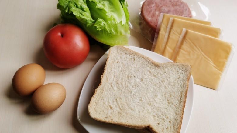 芝士火腿三明治,准备所需食材。