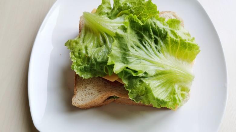 芝士火腿三明治,喜欢青菜的,可以再放一层生菜。