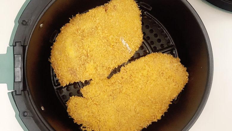 黄金鸡排,放入空气炸锅中