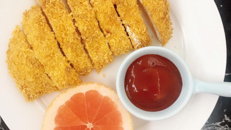 黄金鸡排,配上番茄酱~~