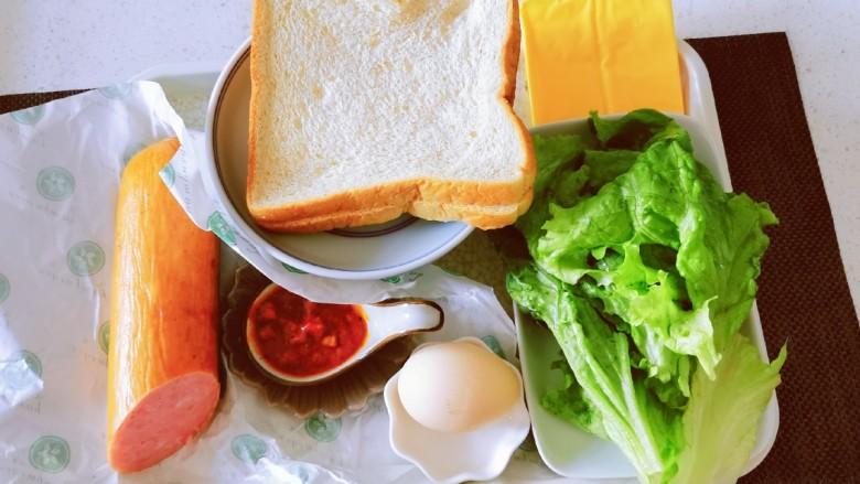 芝士火腿三明治,食材准备好