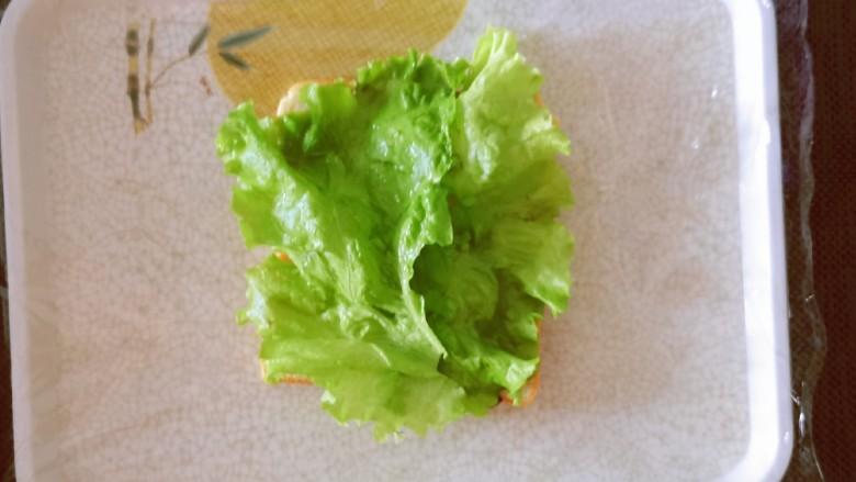 芝士火腿三明治,覆盖一层生菜