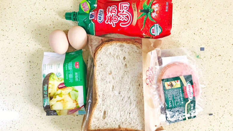 芝士火腿三明治,准备好食材