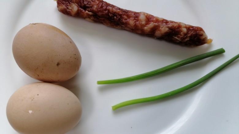 腊肠蒸蛋,准备好所需材料