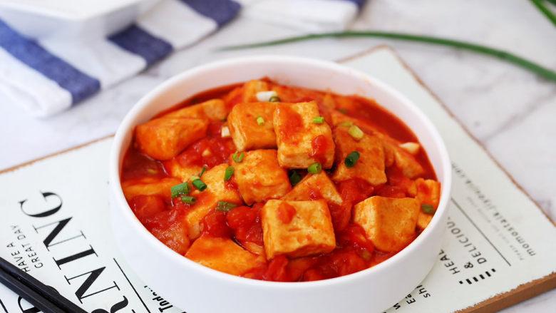 番茄烧豆腐,成品图