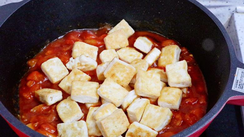 番茄烧豆腐,加入豆腐