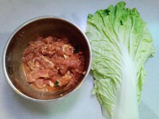 手撕白菜炒肉片,猪瘦肉提前用调料品腌制好,白菜数片