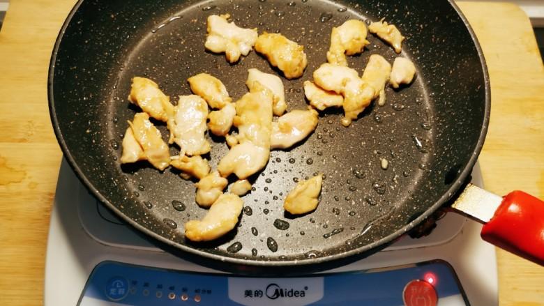 香菇炒肉片,起油锅 放入食用油 放入鸡肉片滑炒 变色后盛出