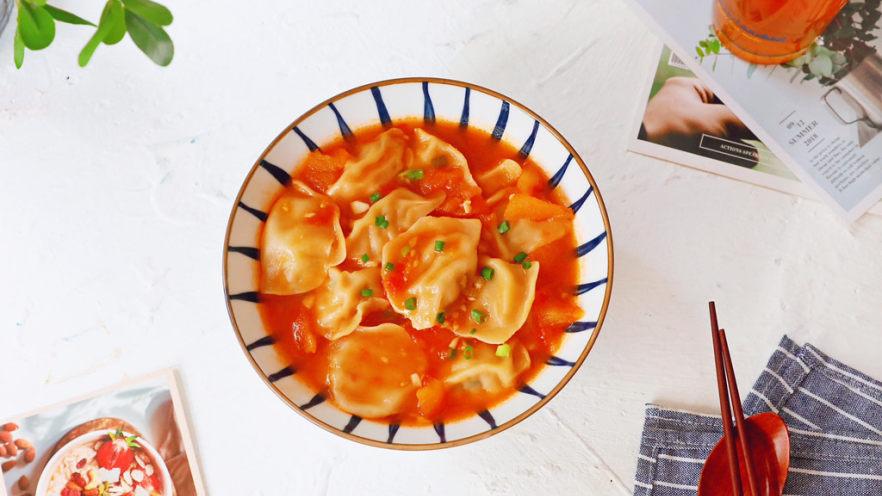番茄浓汤饺子