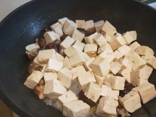 香菇炖豆腐,倒入豆腐。