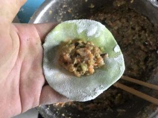 彩色芹菜猪肉饺子,包入肉馅